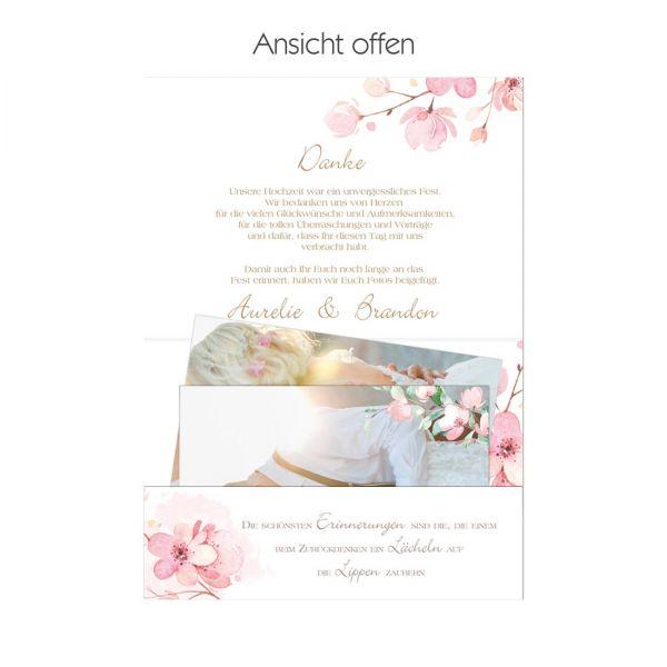 """Pocketfold-Danksagungskarten für die Kirschblütenhochzeit """"Aurelie & Brandon"""""""