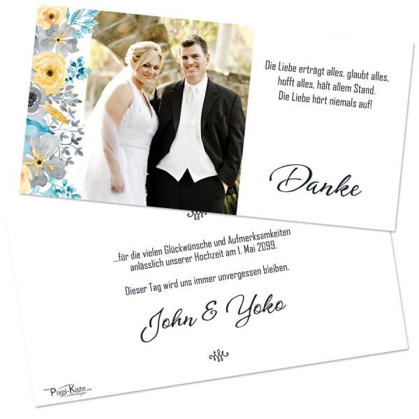 "Danksagungskarten Hochzeit mit Blüten ""John & Yoko"""