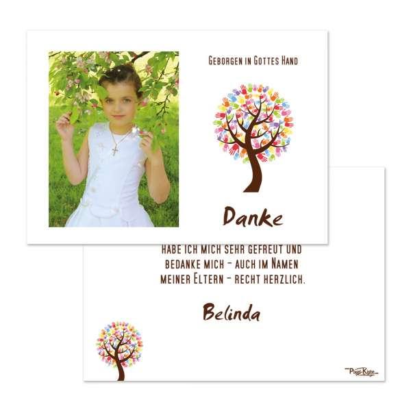 """Danksagungskarten Kommunion Konfirmation """"Baum mit Händen"""""""