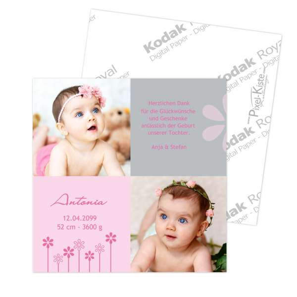 Danksagungskarte Geburt quadratisch