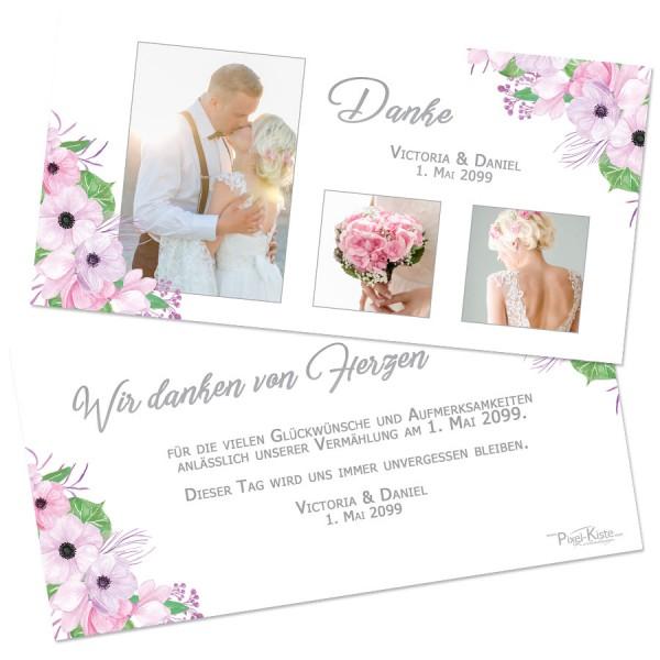 Danksagungskarten für die Hochzeit Boho-Stil drucken