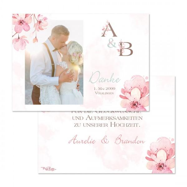 """Danksagungskarten für die Kirschblütenhochzeit """"Aurelie & Brandon"""""""
