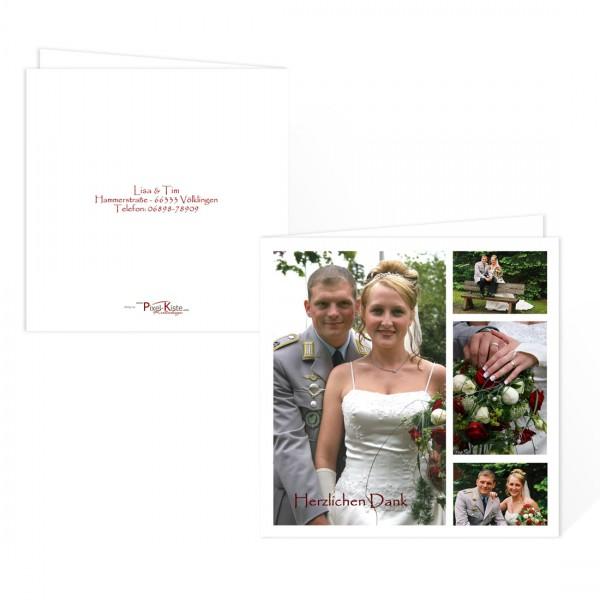quadratische Hochzeitsdanksagung