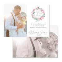 """Danksagungskarten mit Kirschblüten und Eukalyptus """"Marie & Pierre"""""""