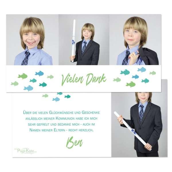 """individuelle Danksagungskarten für die Erstkommunion """"kleine Fische"""" drucken lassen"""