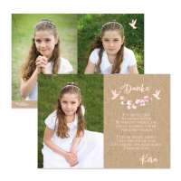 Danksagungskarten Kirschblüten & Taube Kraftkartonoptik