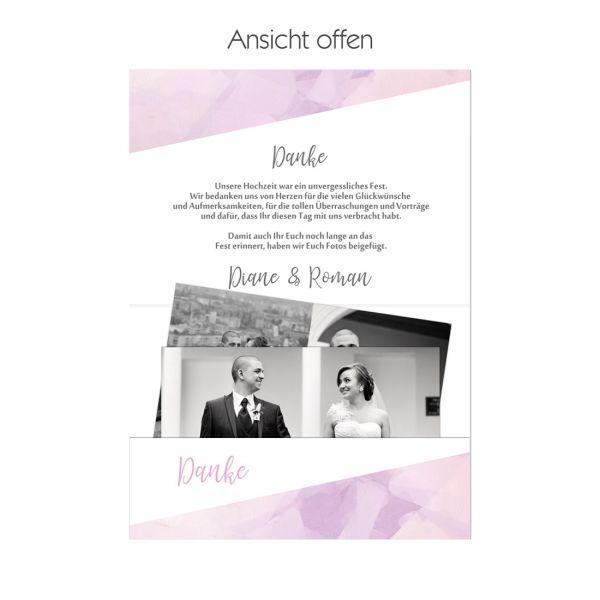 """Danksagungskarten Pocketfold für die Hochzeit """"Diane & Roman"""""""