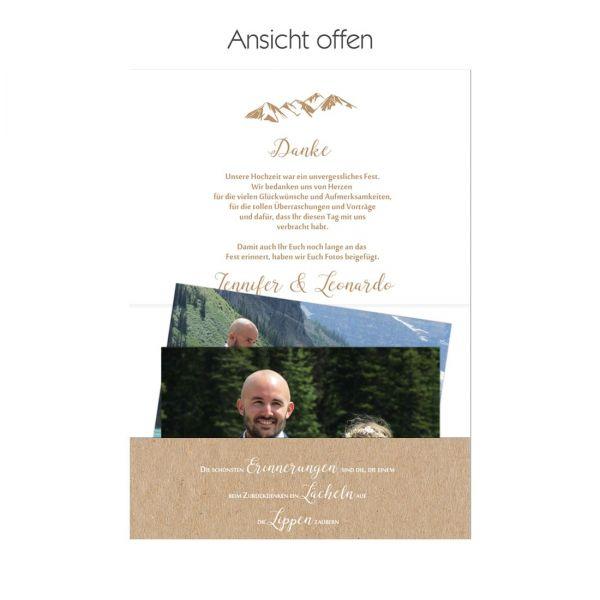 """Danksagungskarten Pocketfold für die Berghochzeit """"Jennifer & Leonardo"""""""