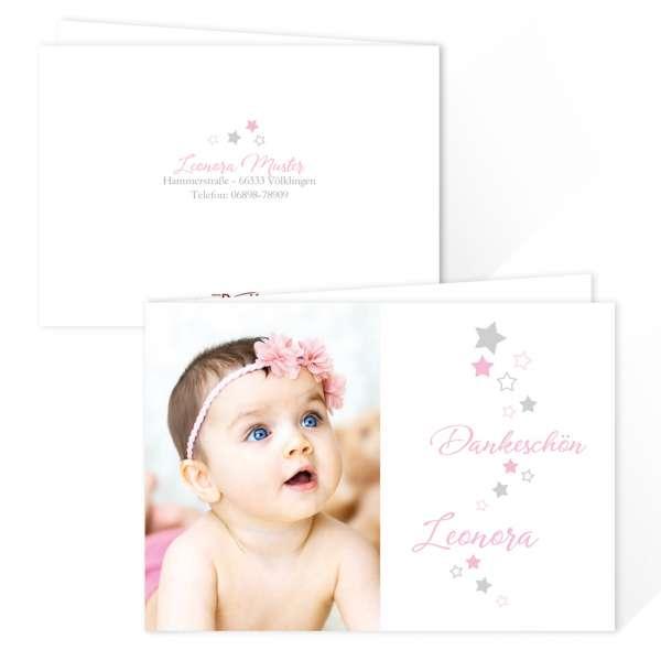Danksagungskarten Baby Taufe Geburt mit Sternenschweif