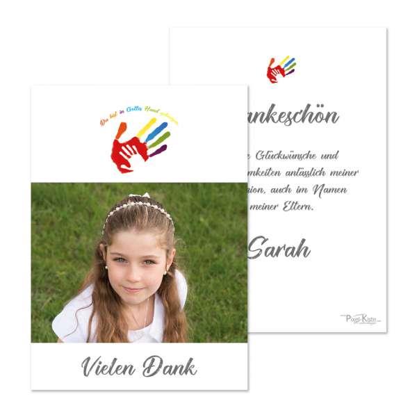 """Danksagungskarte Erstkommunion Handabdruck """"Gottes Hand"""""""