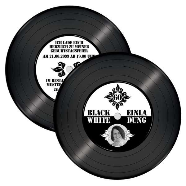 Einladung Black and White-Party Geburtstag Schallplatte