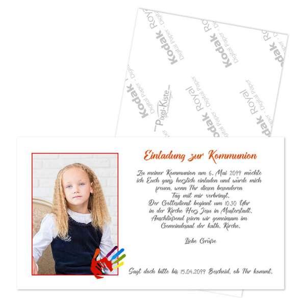 """Einladungen Erstkommunion """"Gottes Hand"""" mit Foto"""