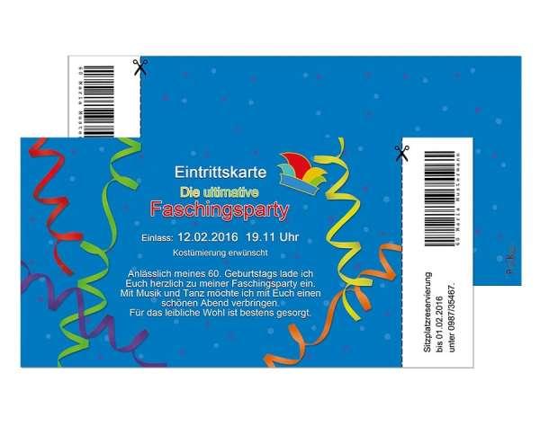 Einladung Eintrittskarte Faschingsparty Karneval