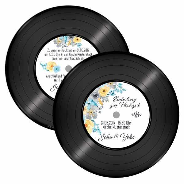 runde Einladung Hochzeit Schallplatte Blumen aquarell