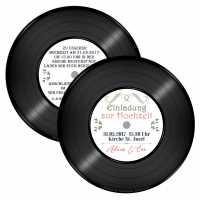 Vintage-Hochzeitseinladung als Schallplatte drucken