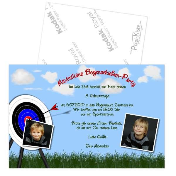 Einladungen Kindergeburtstag Bogenschießen