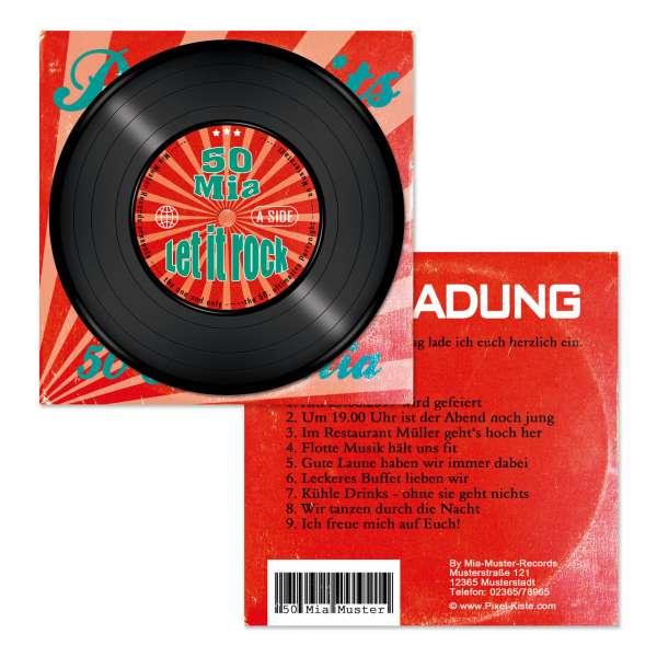 Einladung Schallplatte mit Cover