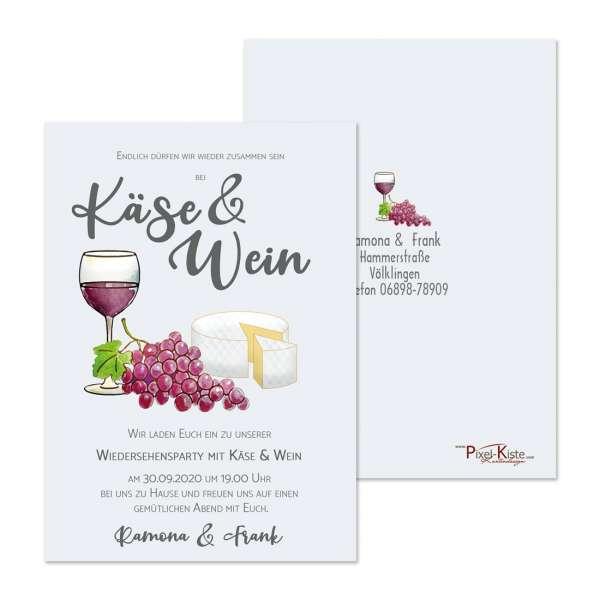 """Einladungskarte """"Käse & Wein"""""""