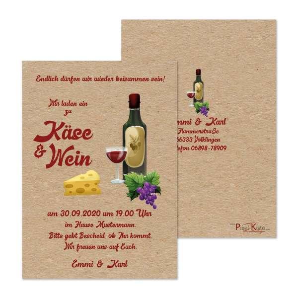 """Einladungskarte zu """"Käse & Wein"""" für das Treffen mit Freunden"""