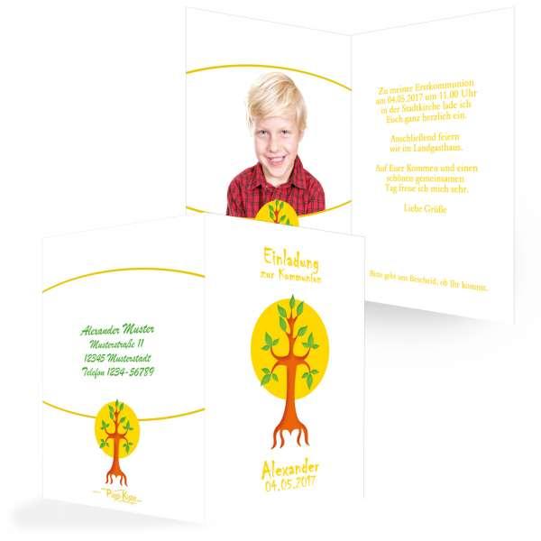 """Einladungen """"Baum des Lebens"""" Kommunion"""