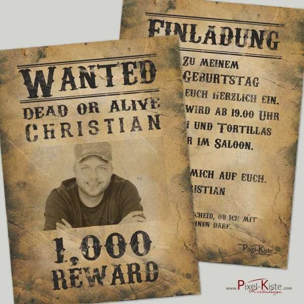 Einladung Steckbrief Wanted