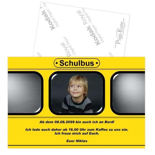Einladungskarte Einschulung Schulbus