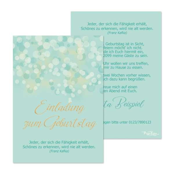 Einladungen Geburtstag Bokeh Smaragd-Gold