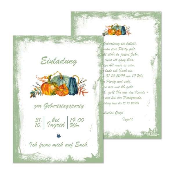 Einladungskarten mit Kürbis für den Geburtstag oder die Halloweenparty