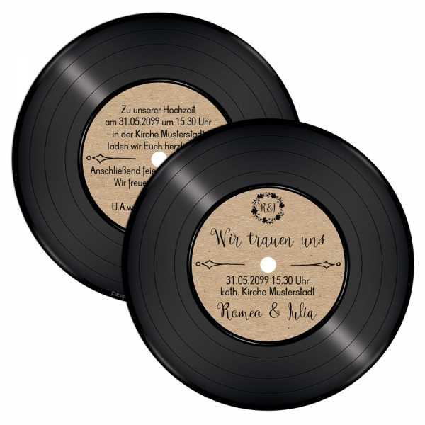 runde Einladungen Hochzeit Schallplatte Vintage