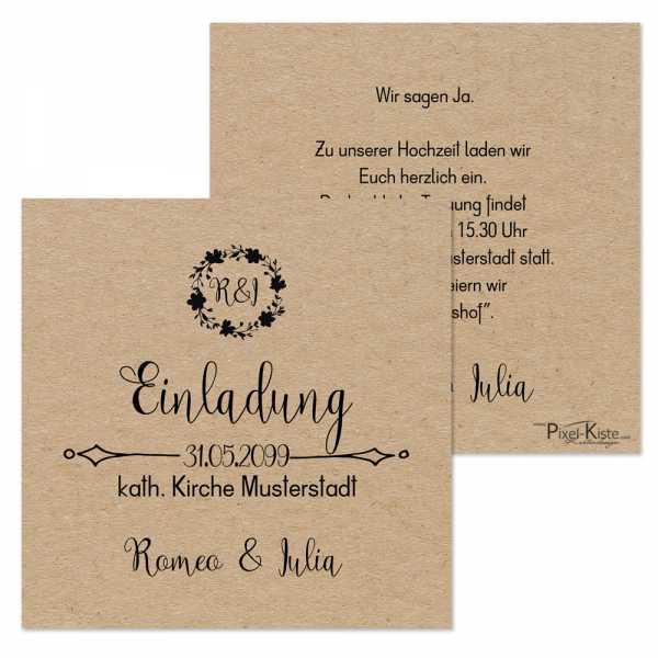 """quadratische Einladungen Hochzeit Vintage-Style """"Romeo & Julia"""""""
