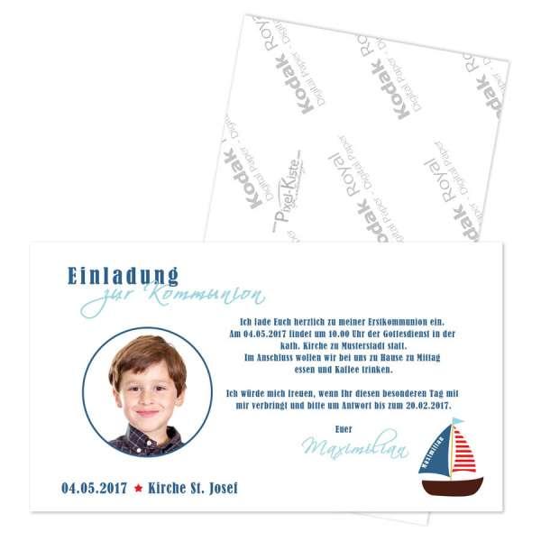 Einladungen Erstkommunion Boot mit Foto