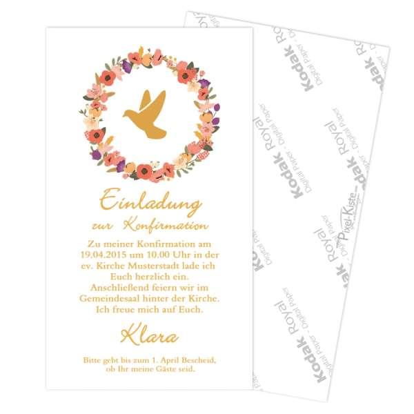 Einladungen Kommunion Blumenkranz