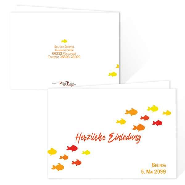 niedliche Einladungskarten Erstkommunion mit kleinen Fischen in rot, orange und gelb