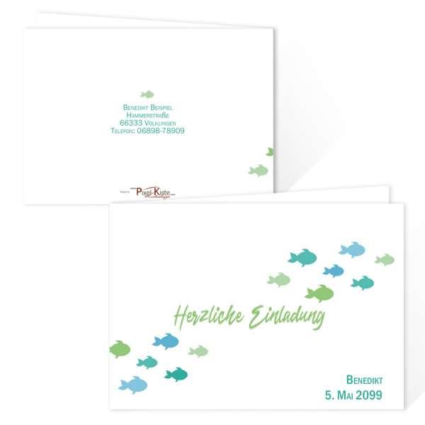 """originelle Einladungskarten zur Erstkommunion """"kleine Fische"""" blau"""