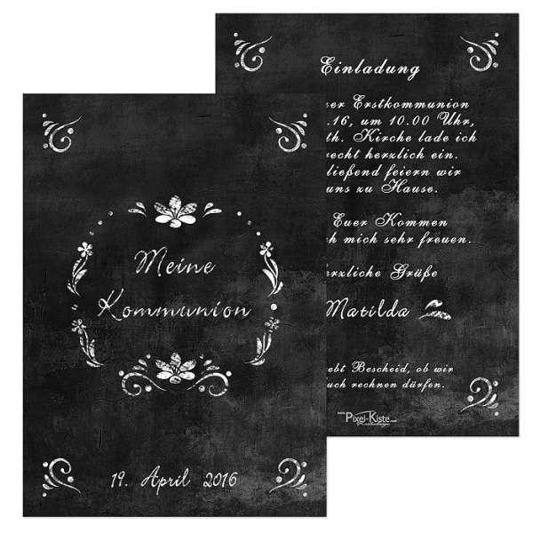 Einladungen Kommunion Chalk Kreide