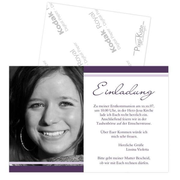 Einladungskarte Konfirmation Kommunion Firmung drucken