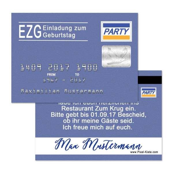 Einladung zum Geburtstag Kreditkarte