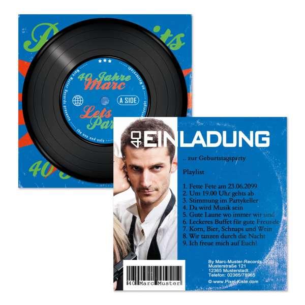 Einladungen Schallplattencover