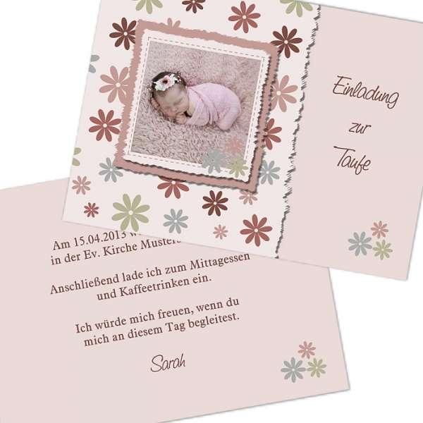 Einladung Taufe Rosa Blau Emma Emanuel