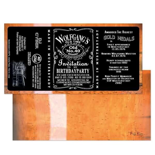 Einladungen als Whiskey-Etikett