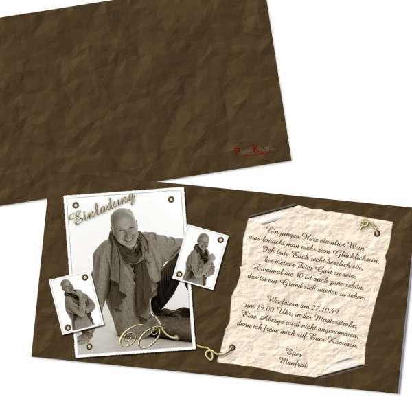 Einladungskarten Geburtstag Sepia vintage