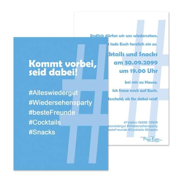 "Einladungskarte Party Social-Media ""Hashtag"""