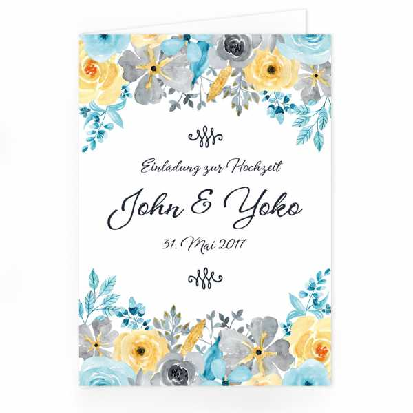 "Einladungskarte Hochzeit Aquarell-Blumen ""John & Yoko"""