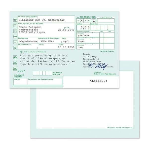 Einladungskarte als Rezept Partyverordnung