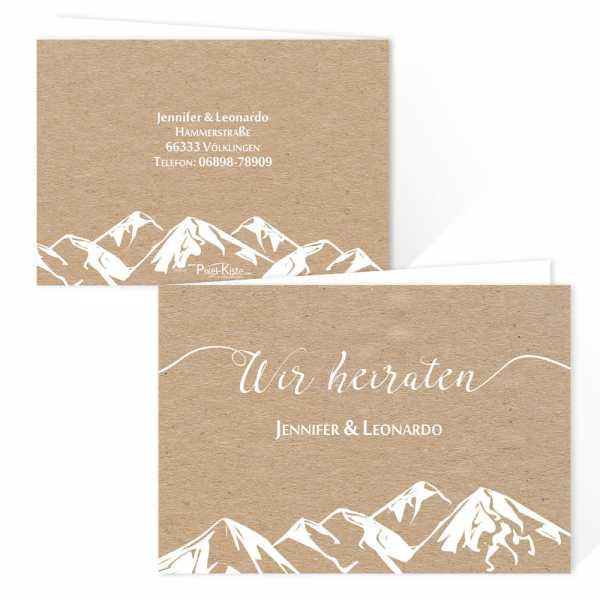 Einladungskarten für die Berghochzeit Kraftkartonoptik drucken