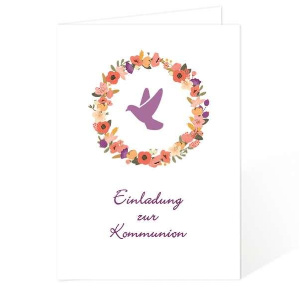 Einladungskarten Erstkommunion Blumenkranz