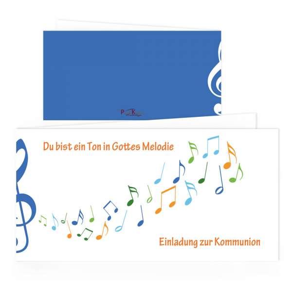 """Kommunion Einladungskarten """"Gottes Melodie"""" blau drucken lassen"""