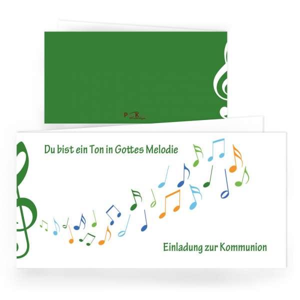 """Erstkommunion Einladungen """"Gottes Melodie"""" grün drucken lassen"""