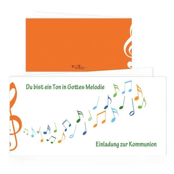 """Kommunioneinladungen """"Gottes Melodie"""" orange drucken lassen"""