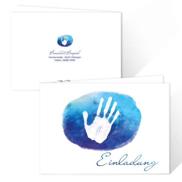 """Einladungskarte zur Erstkommunion """"Hand in Hand"""" blau drucken lassen"""